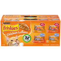 (32 Pack) Friskies Gravy Wet Cat Food Variety Pack, Chicken Lovers Prime Filets & Shreds, 5.5 oz. Cans