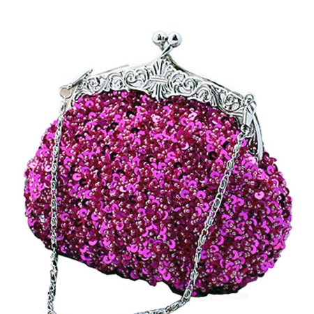 fc4724ba514ef Chicastic - Chicastic Fully Sequined Mesh Beaded Antique Style Wedding  Evening Formal Cocktail Clutch Purse - Fuchsia Pink - Walmart.com