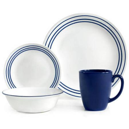 Corelle 16 Piece Classic Cafe Blue Livingware Dinnerware