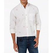 Mens Medium Bulldog Print Oxford Dress Shirt M