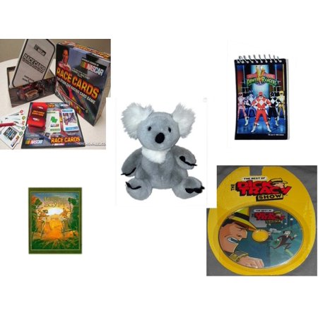 Children's Gift Bundle [5 Piece] -  Race Cards Stock Car Racing Card  - 1993 Mighty Morphin Power Rangers Notepad - Build A Bear  Koala Bear 12