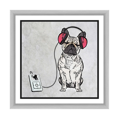 PTM Images Headphoned Dog Framed Graphic Art