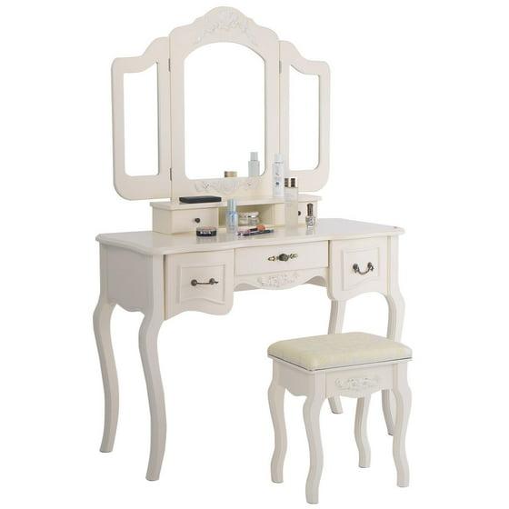 Costway Tri Folding Vintage White Vanity Makeup Dressing Table Set Bathroom 5 Drawers Stool