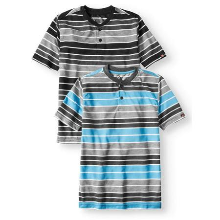 - SWISS CROSS Short Sleeve Stripe Crew Neck Jersey Henley Tee, Value 2 Pack (Big Boys)