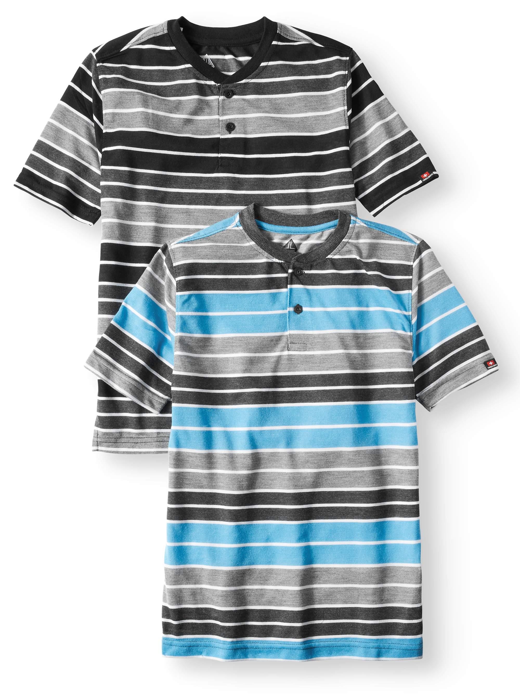 SWISS CROSS Short Sleeve Stripe Crew Neck Jersey Henley Tee, Value 2 Pack (Big Boys)