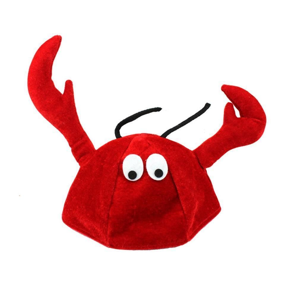 Red PLUSH Novelty Lobster Crab Crawfish Seafood Felt Hat Costume Accessory Cap