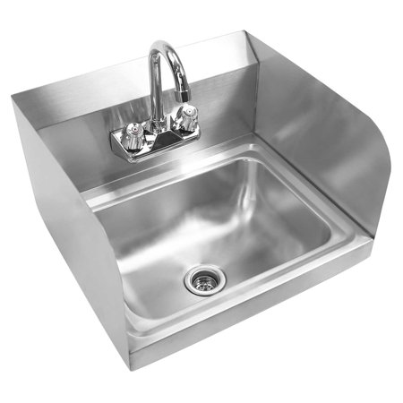 GRIDMANN Commercial NSF Stainless Steel Sink with Faucet & Sidesplashes - Wall Mount Hand Washing Basin China Wall Mount Basin