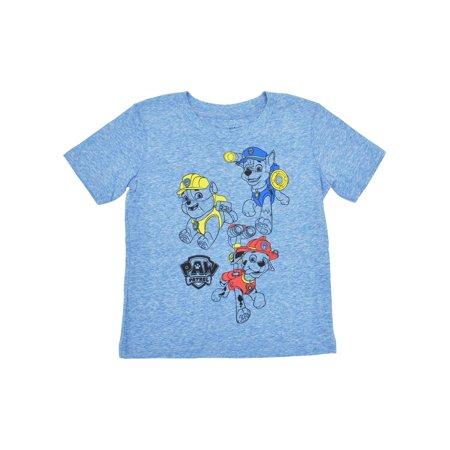 Boys Toddler Paw Patrol Chase Marshall Rubble T-Shirt Heather Blue Soft](Paw Patrol Apparel)