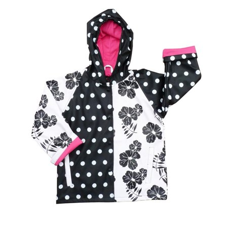 Girls Black White Rain Coat 8-10