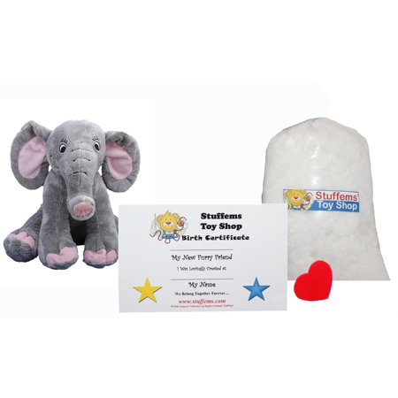 Make Your Own Stuffed Animal Mini 8 Inch Happy Elephant with Embroidered Eyes Kit - No Sewing Required! - Embroidered Stuffed Animals
