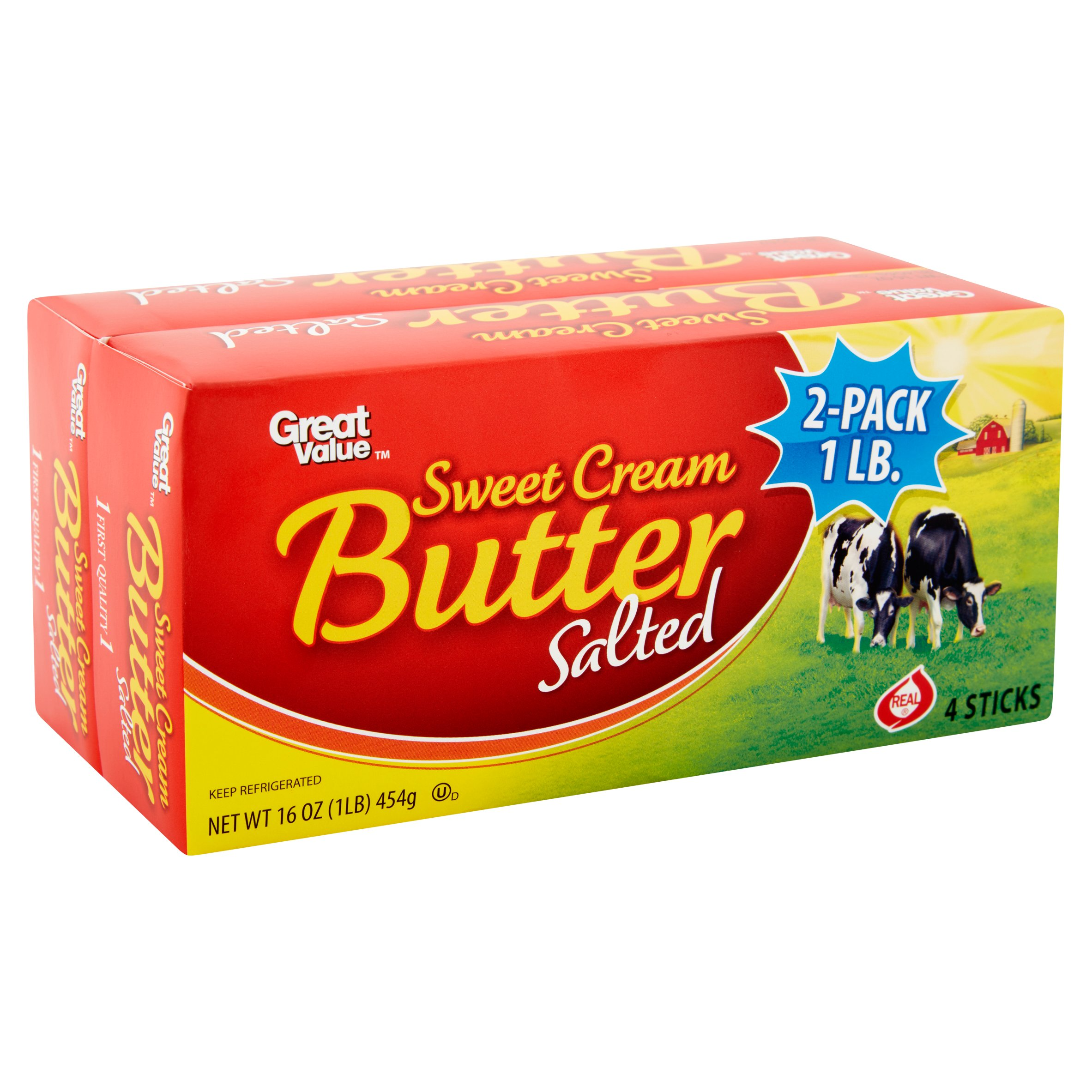 Great Value Sweet Cream Salted Butter Sticks, 8 ct, 2 lb
