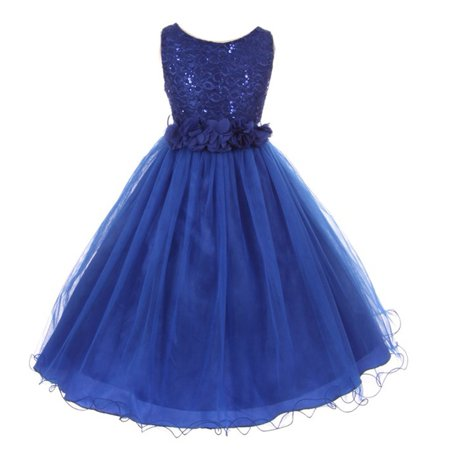Girls Royal Blue Lace Sequin Tulle Flower Sparkle Special Occasion (Best Websites For Special Occasion Dresses)
