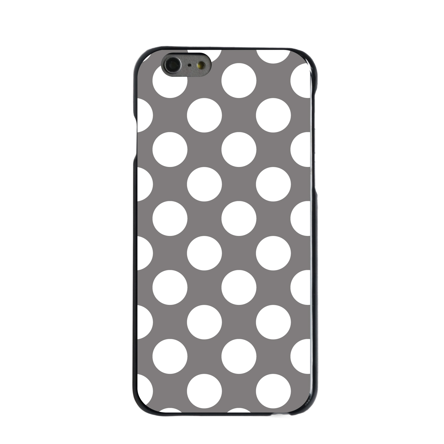 "CUSTOM Black Hard Plastic Snap-On Case for Apple iPhone 6 / 6S (4.7"" Screen) - White & Grey Polka Dots"