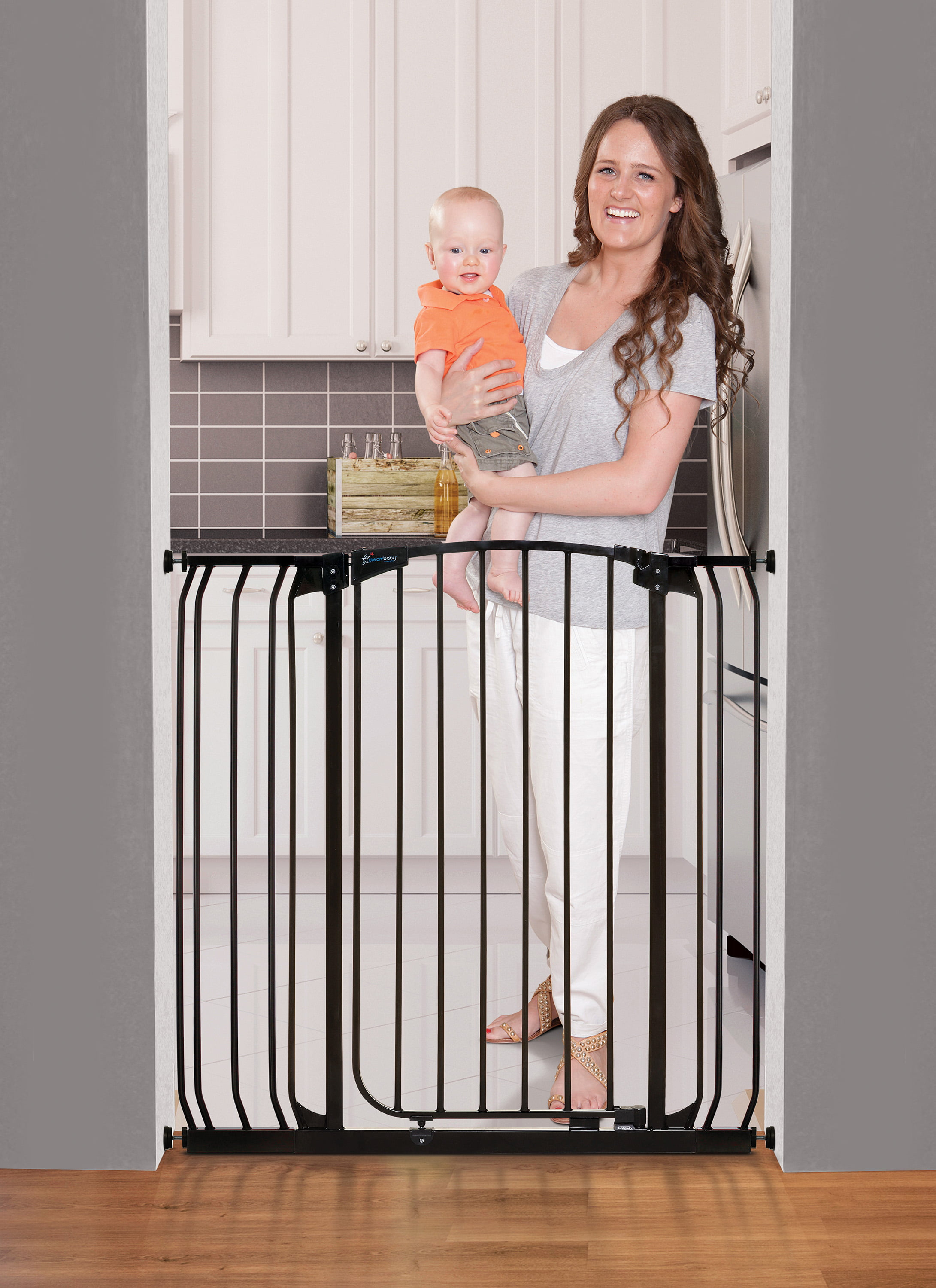 Extensions Set Black Dreambaby Extra Tall Hallway Swing Closed Baby Stair Gate