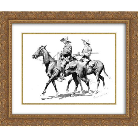 Frederic Remington 2x Matted 24x20 Gold Ornate Framed Art Print 'Cracker Cowboys of Florida'