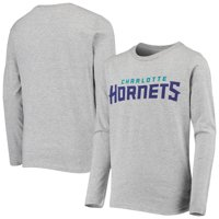 Charlotte Hornets Youth Primary Logo Long Sleeve T-Shirt - Heathered Gray