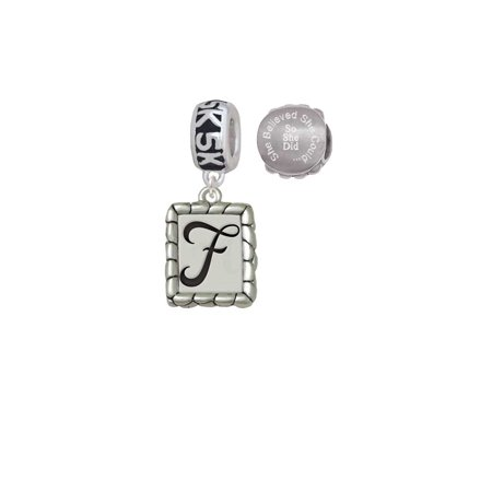 Silvertone Pebble Border Initial - F 5K Run She Believed She Could Charm Beads (Set of 2)