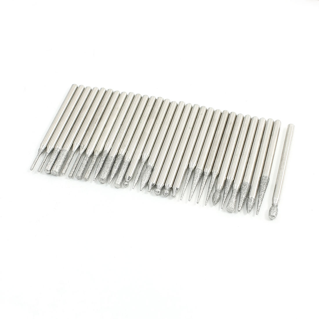 Unique Bargains 30 Pcs Cylindrical Tree Tip Diamond Points Grinding Drill Bit w Holder