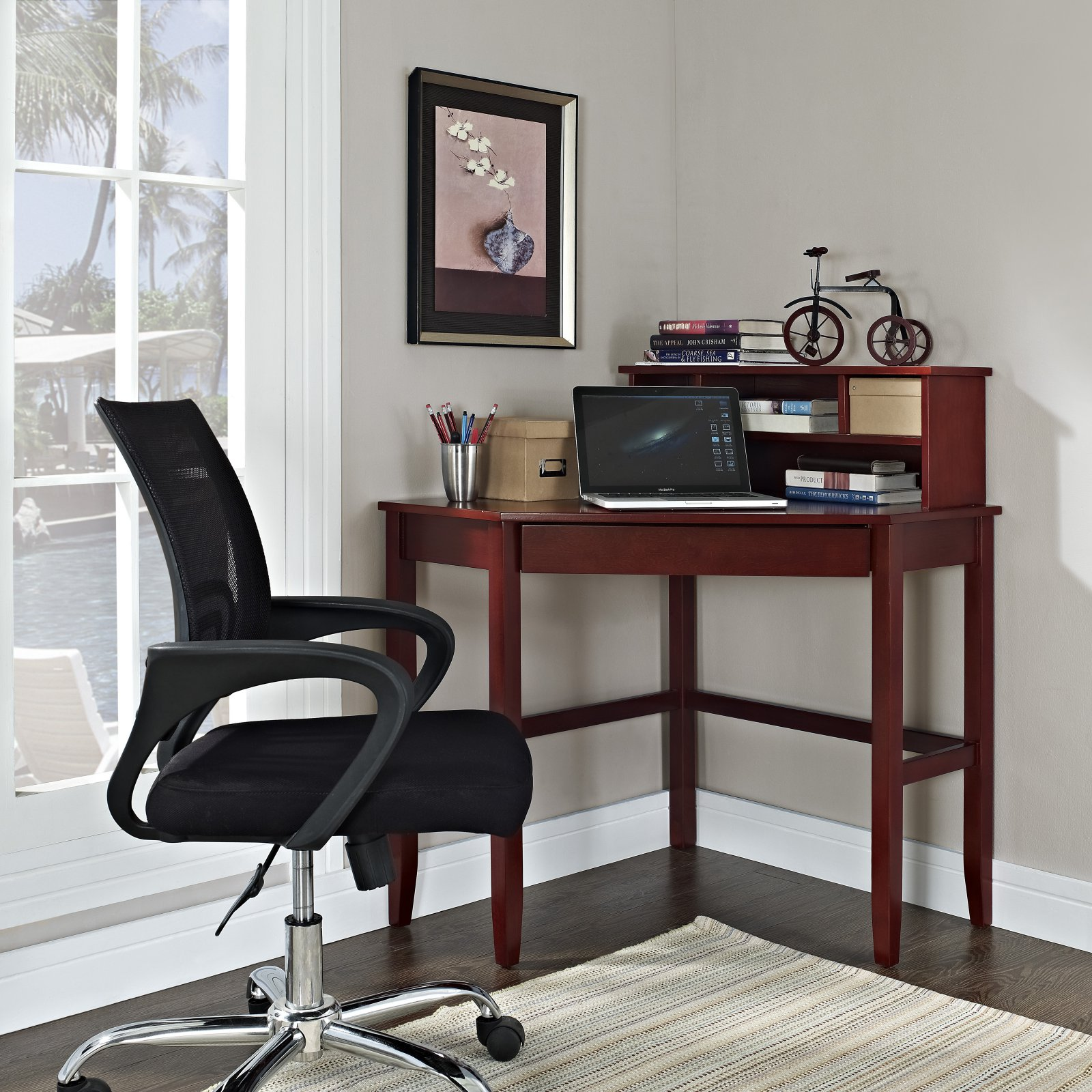 Corner Laptop Writing Desk With Optional Hutch Cherry