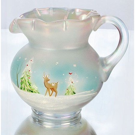 - Fenton Art Glass 5471VT Pitcher in Whispering Woods on French Opalescent Satin