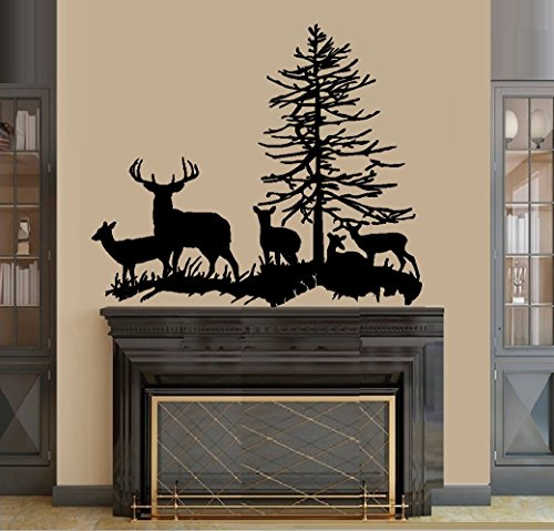 """Decal ~ DEER FAMILY: BUCK, DOE, AND THREE FAWNS #2 ~ WALL DECAL, LARGE 22"""" x 28"""""""