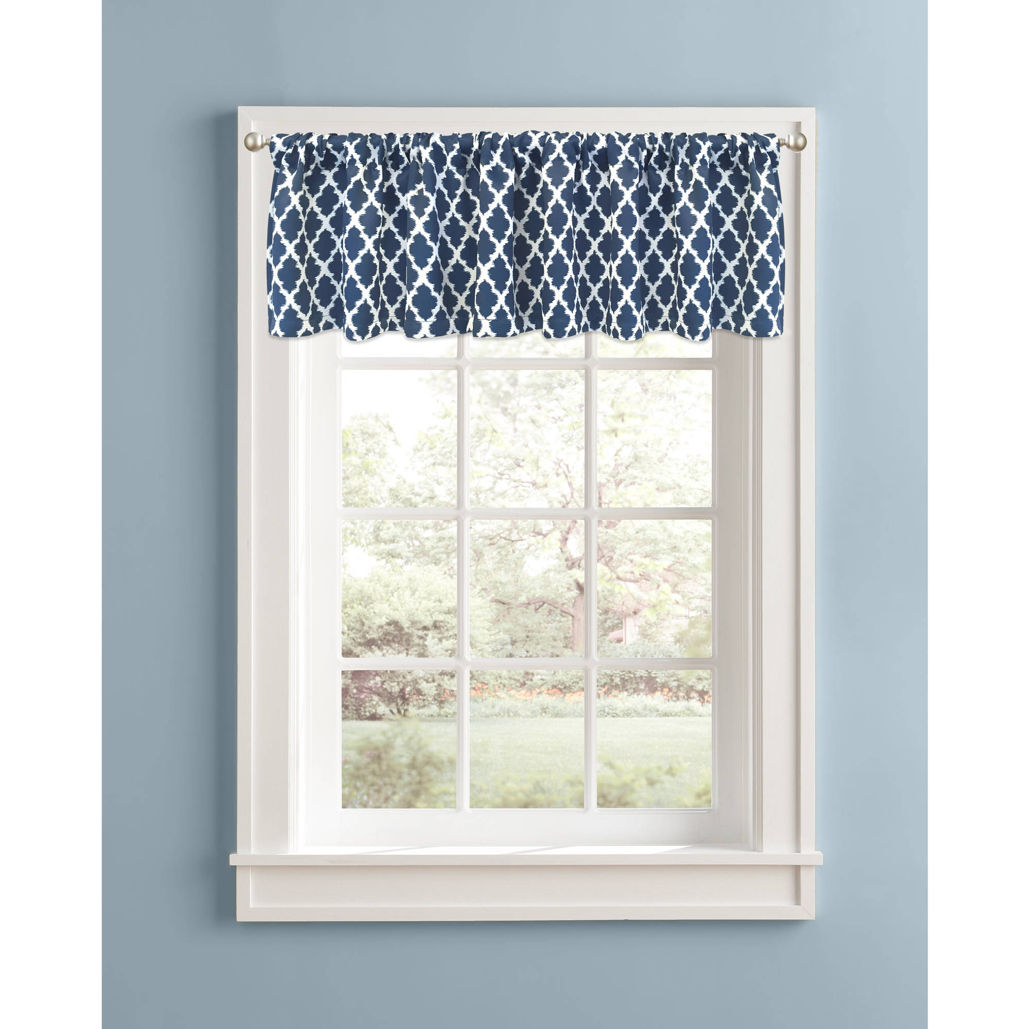 Better Homes and Gardens Indigo Tangier 99 Percent Light Blocking Valance by Colordrift LLC