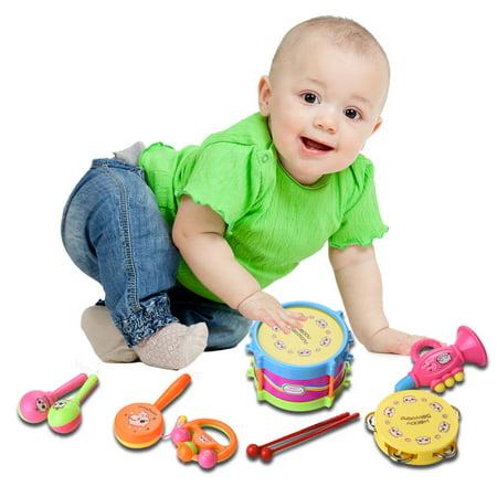 DZT1968 7 Pcs Kids Baby Drum Musical Instruments Band Kit Children Toy