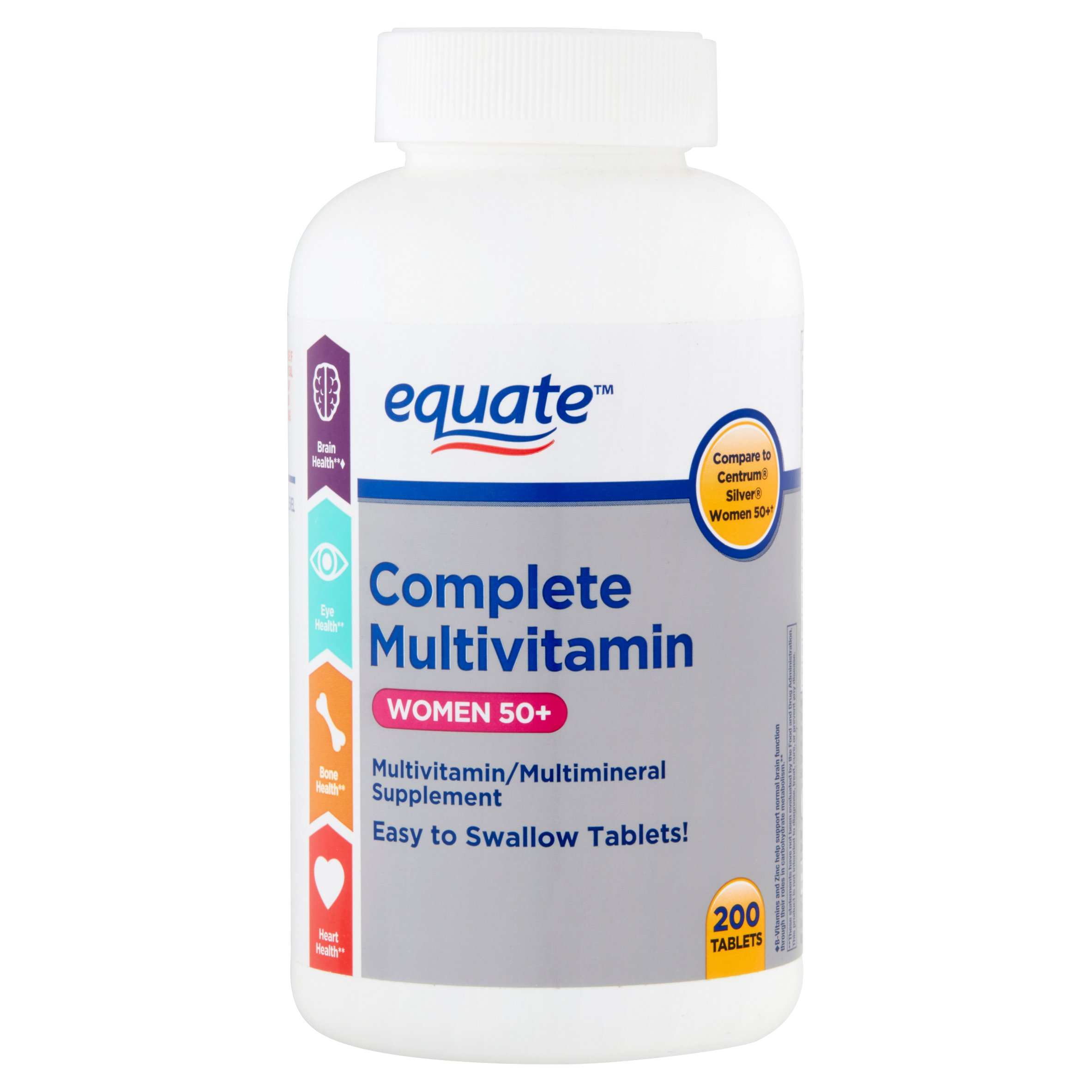 Equate complete multivitamin women 50+ multivitamin/multimineral supplement, 200 ct