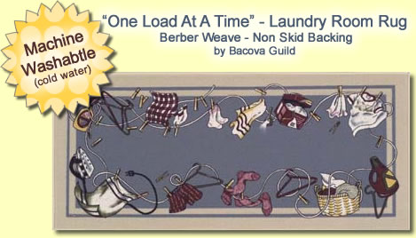 "Laundry Rug by Bacova ""One Load At A Time"" 21"" x 54"" Machine Washable... by Bacova Guild"