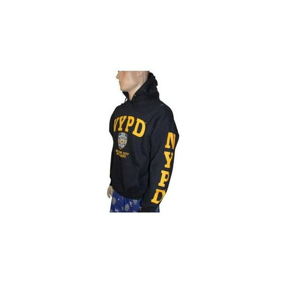 3a63868a Nyc Factory - NYPD Hoodie Yellow Sleeve Print Sweatshirt Navy Blue Large -  Walmart.com