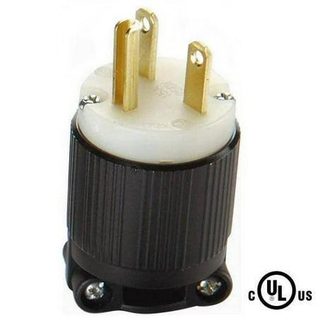 NEMA 6-15 Grounding Plug, 15A 250V AC, 2 Pole 3 Wire, cUL