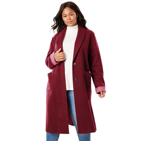 c7a8cad7533 Woman Within - Plus Size Lightweight Wool Double-faced Coat ...
