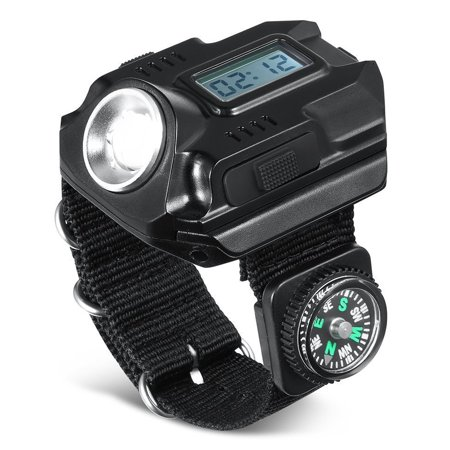 TSV Wrist LED Light, Rechargeable Waterproof LED Flashlight Watch with Compass, Best for Running Mountain Climbing Camping Survival Hiking Hunting (Best Cassette For Climbing)