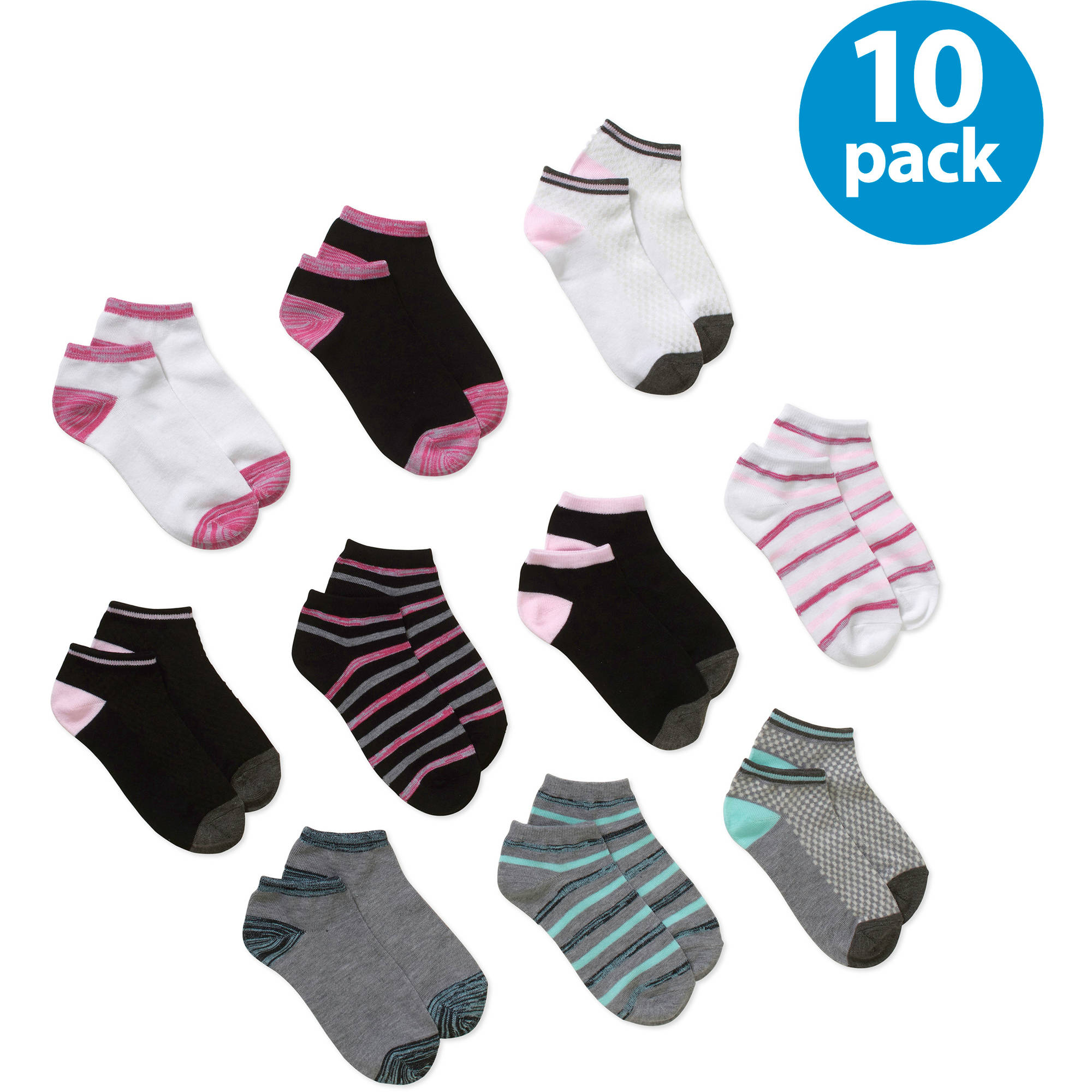 No boundaries Women's Marled Stripe Low Cut Socks - 10 Pack