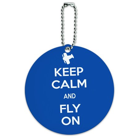 Keep Calm And Fly On Airplane Round ID Card Luggage Tag