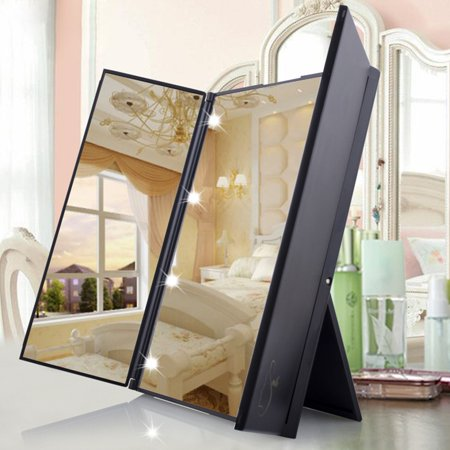 8 LED Lighted Cosmetic Pocket Mirror Vanity Mirror With Stand Beauty Tabletop Mirrors For Lady Women Makeup in Bedroom Toilet,Tri-Fold  Makeup Mirrors Foldable (with