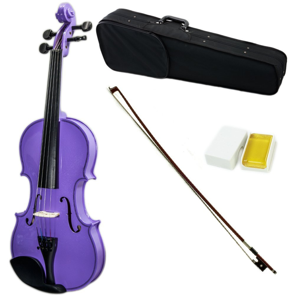 SKY Full Size VN202 Solidwood Purple Violin Beautiful Purfling with Brazilwood Bow and Lightweight Case