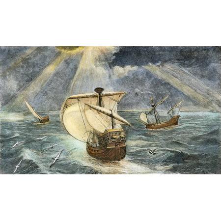 Columbus Caravels 1492 Nthe Ships Of Christopher Columbus (The Nina Pinta And Santa Maria) Engraving 1800S Poster Print by Granger