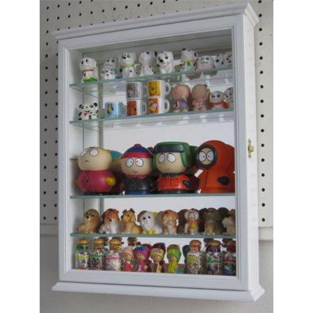 Shelf Curio Case - Wall Curio Cabinet With Glass Shelves and Door, Mirrored Background SC06B (White)