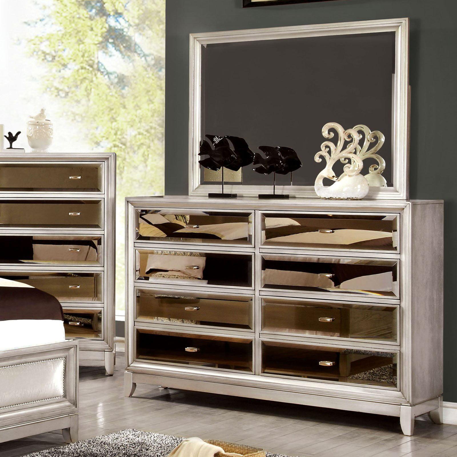 Furniture Of America Glaciara 8 Drawer Dresser With Mirror
