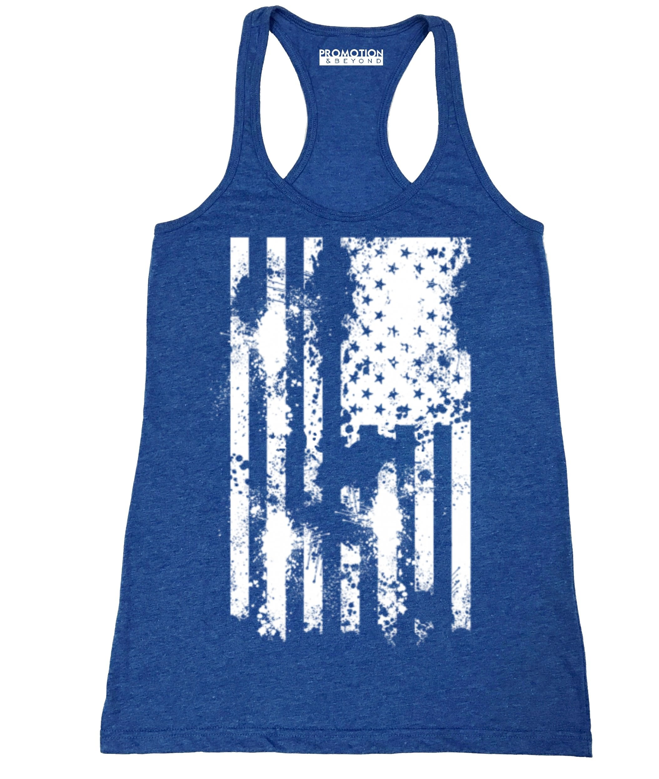 61a054e37a6bd4 Promotion & Beyond - P&B White Distressed USA Flag 4th of July Independence  Day Women's Tank Top, Heather Royal, 2XL - Walmart.com