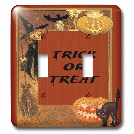3dRose Vintage Elements Witch, Black Cat, Pumpkin Trick or Treat Halloween Design - Double Toggle Switch (lsp_113906_2)](Halloween Pumpkin Witch Designs)