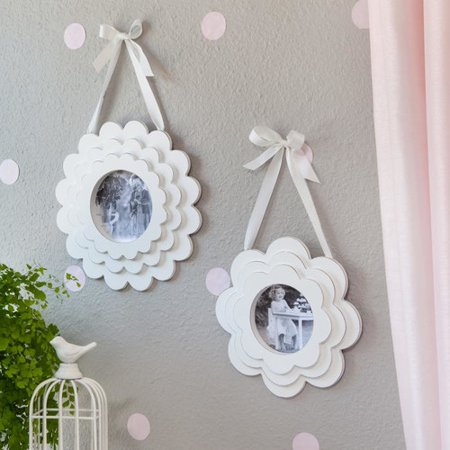 Heart To Heart 2 Piece Layered Flower Wood Hanging Picture Frame Set