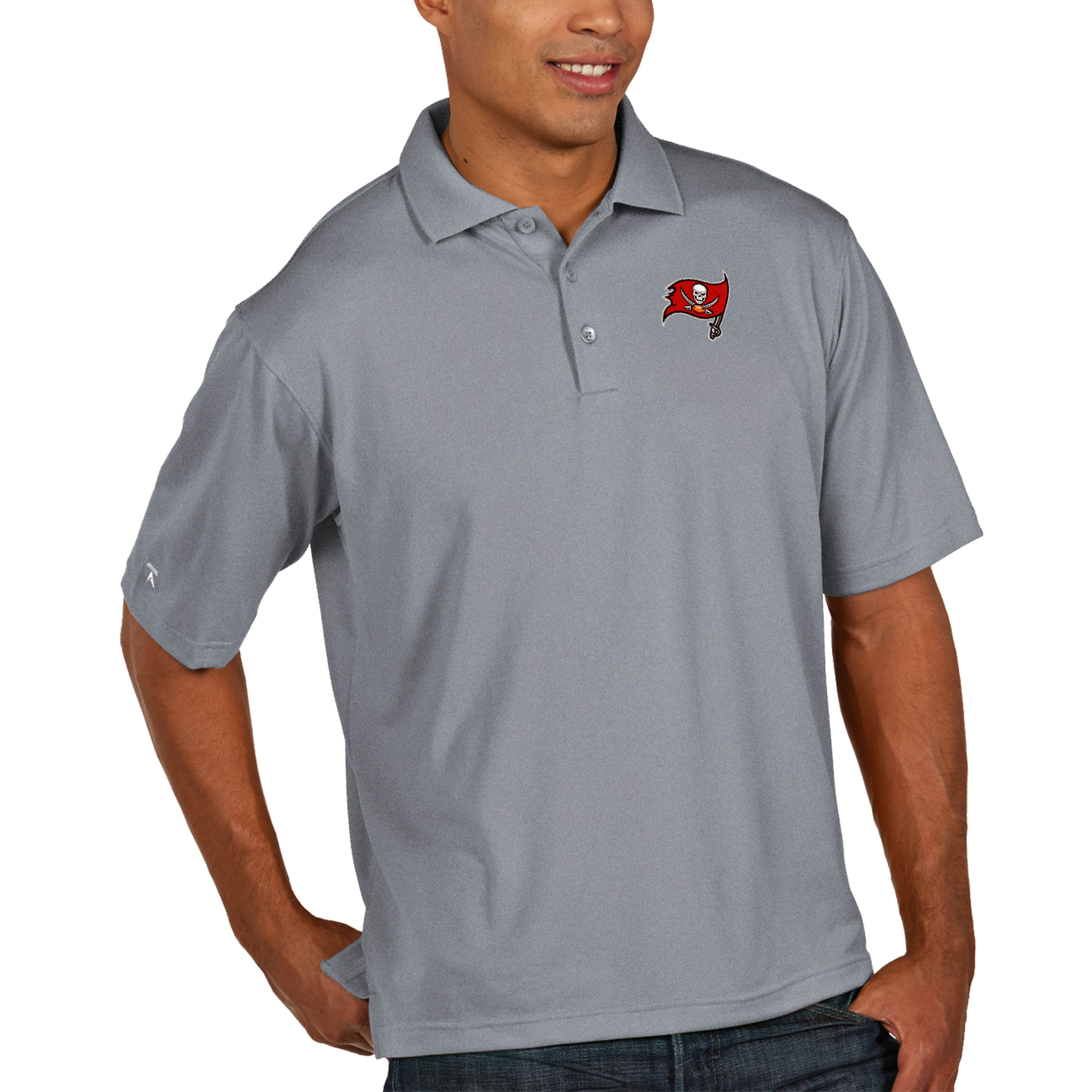 Tampa Bay Buccaneers Antigua Pique Xtra Lite Big & Tall Polo - Heather Gray