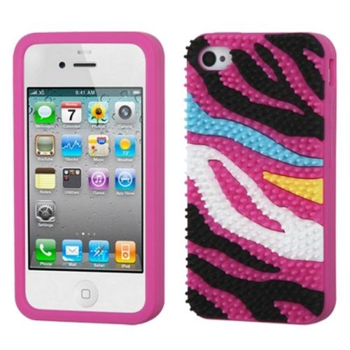 Insten Colorful Zebra Skin Spike Hot Pink Pastel Skin Case Cover For Apple iPhone 4/4S