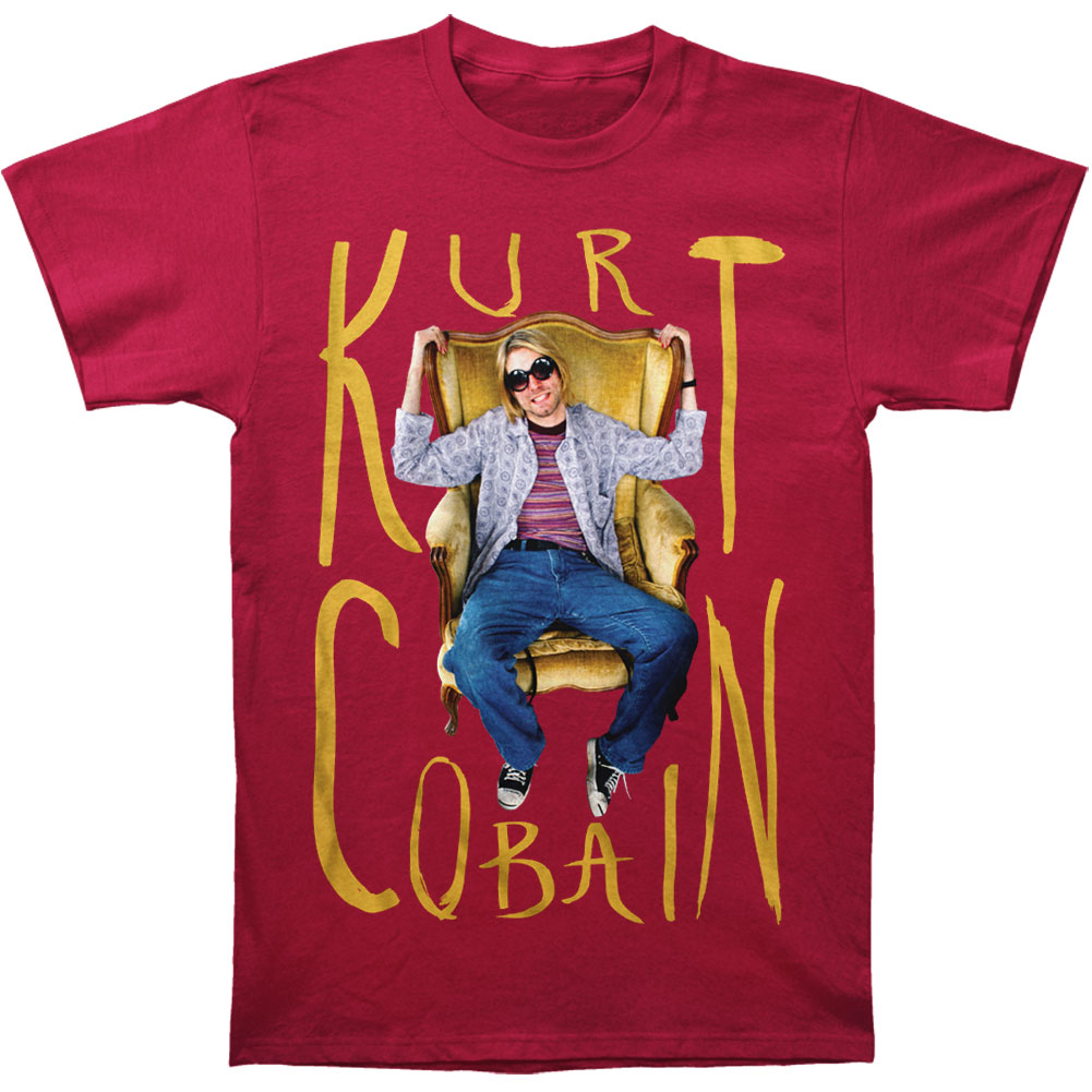 Nirvana Men's  Kurt Cobain Sitting Chair Photo T-shirt Cardinal