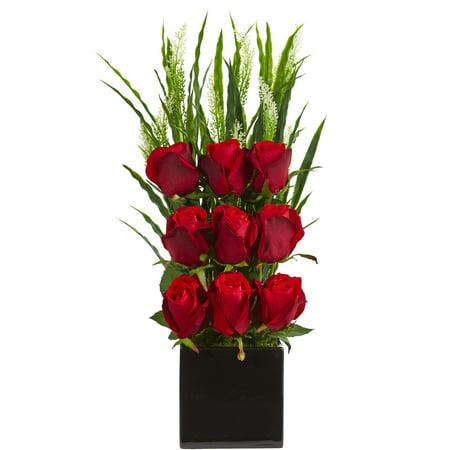 Elegant Arrangement (Nearly Natural Elegant Rose Artificial Arrangement in Black Vase )