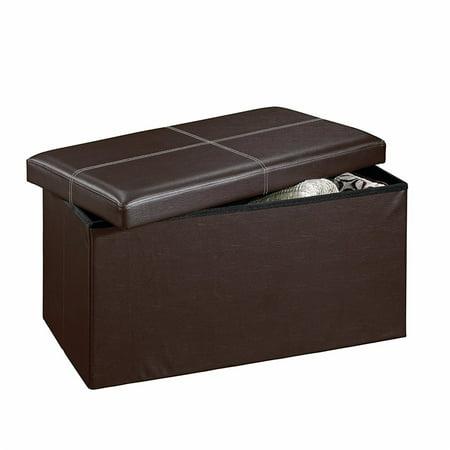 Zimtown Folding Storage Organizer Cuboid Ottoman Seat Stool Box Footstool Brown Furni ()
