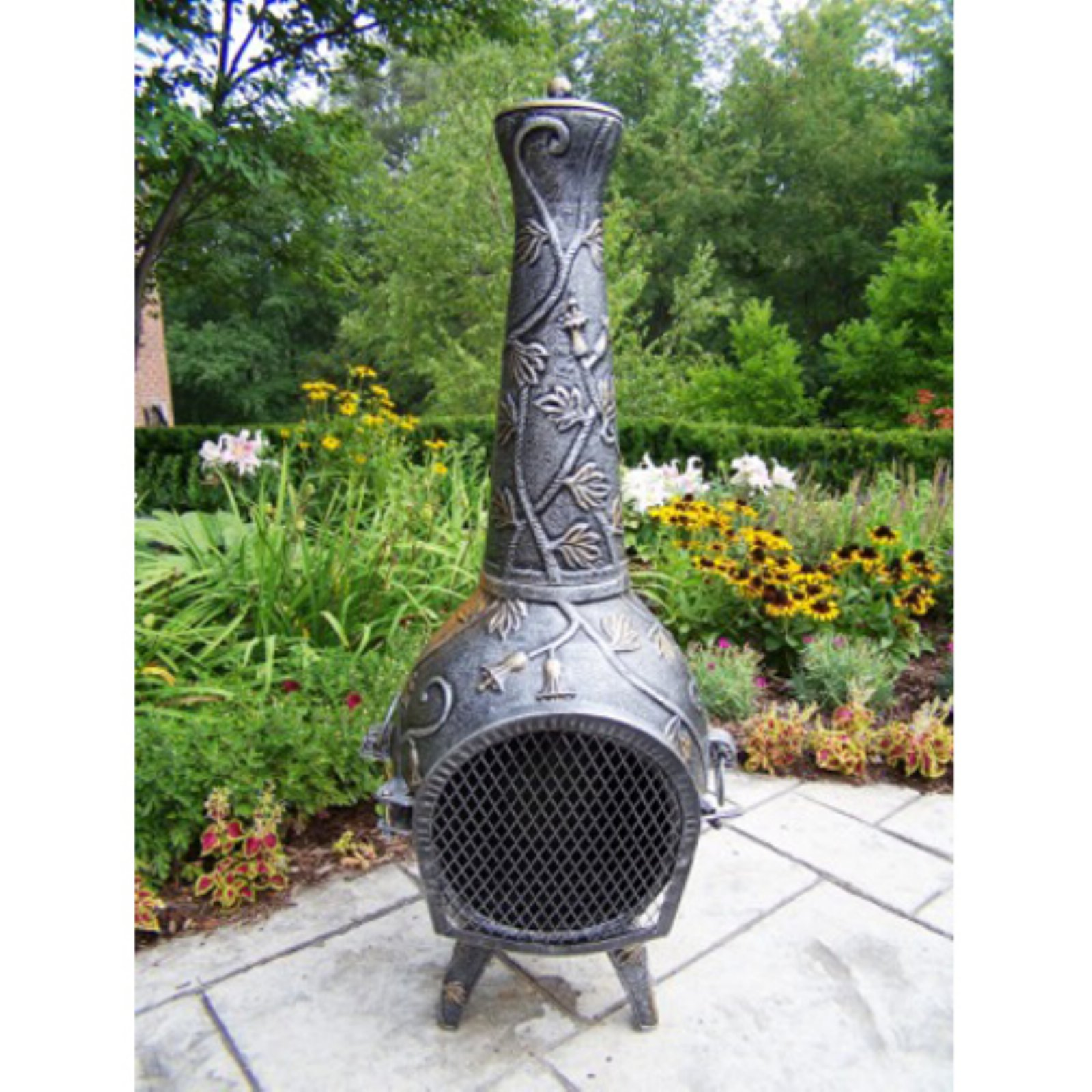 Oakland Living 45 in. Antique Bronze Leaf Chiminea by Chimineas