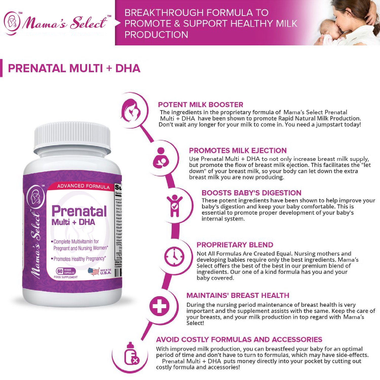 Prenatal & Postnatal Multivitamin With DHA - Mama's Select Lactose Free  Vitamins - Dairy Free & Gluten Free - Omega 3 Fatty Acids, Methyl Folate,  Beta